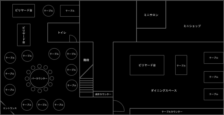 LAカフェの店内マップ1階 ゴーゴーバー