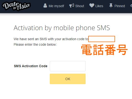 ショートメール(SMS)で6ケタの番号が送信される。その番号を入力すると認証完了。