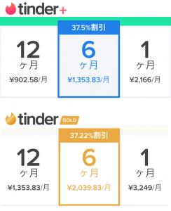 Tinder plusとGoldの二つの有料プラン