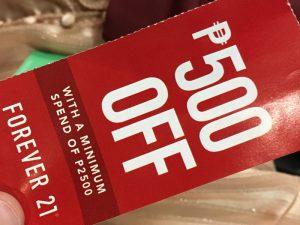 マニラのショッピングモール「ディスカウントチケット」