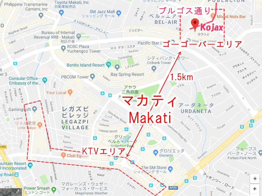 マニラ夜遊び マカティ ブルゴス通り ゴーゴーバーマップ