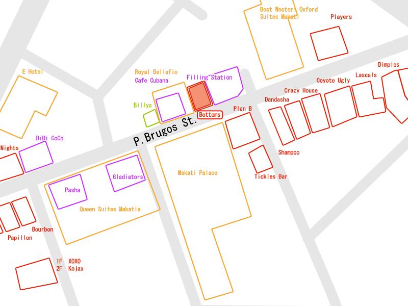 マニラのゴーゴーバーエリア「ブルゴス通り」周辺マップ