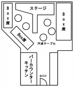 ゴーゴーバー「ボトムス」の店内マップ