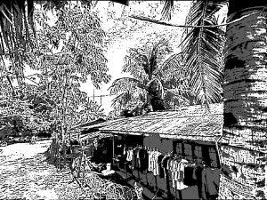 フィリピンの漁村の風景