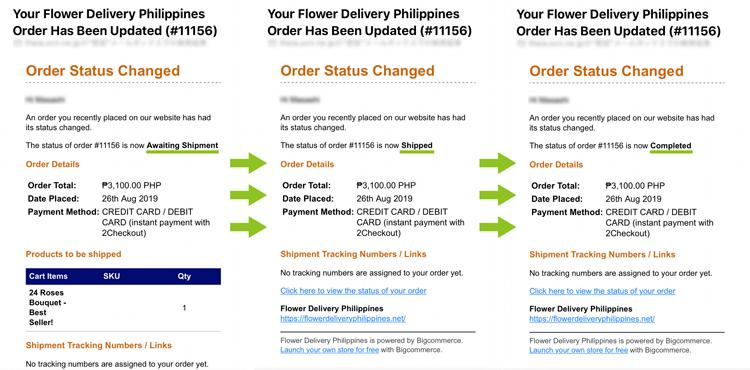 フィリピン フラワーデリバリーサービス 配送状況