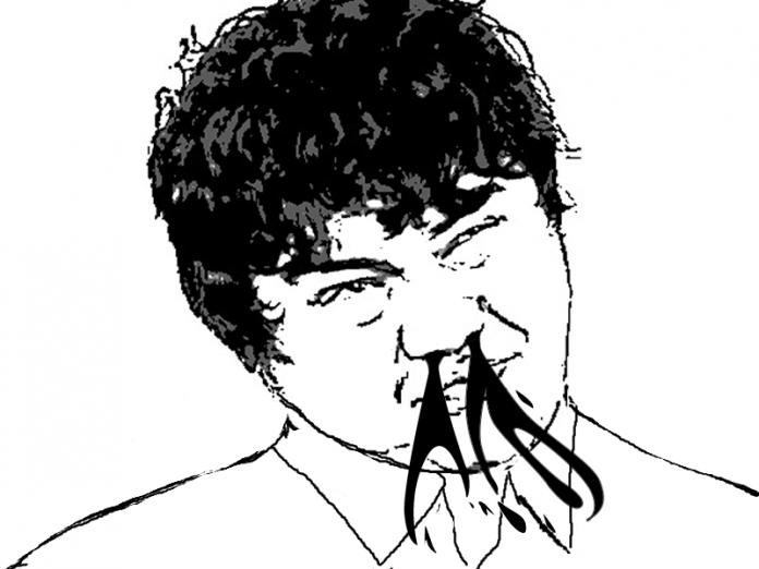 日本人男性 鼻血が噴き出る
